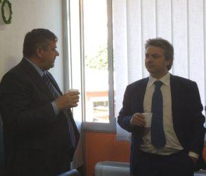Paolo Capone (Ugl) e Domenico Mamone (Unsic) nel corso della cerimonia di inaugurazione
